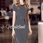 Seoul Secret Say's... Chic Lacely Rear Stripy Dress