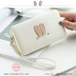 กระเป๋าสตางค์ใส่โทรศัพท์มือถือ 2in1 รุ่น Bunny Wallet สีขาว แต่งหูกระต่าย