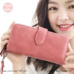 กระเป๋าสตางค์ ใบยาว สีชมพู รุ่น Beautiful Girl