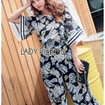 🎀 Lady Ribbon's Made 🎀Lady May Tropical Printed Flared-Sleeve Cropped Top and Flared Pants Set