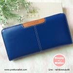 กระเป๋าสตางค์ Oudishengma สีน้ำเงิน ใบยาว