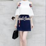Seoul Secret Say's... Rosy Flora Furnish Open Shoulder Denim Skirt Set