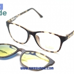 [LD7015 ลายกระ-ปรอททอง] กรอบแว่นคลิปออนแม่เเหล็ก