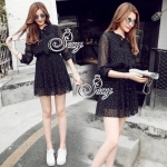 Sevy Laura Polka Dot Pleat Long Sleeve Chiffon Mini Dress