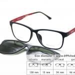 Zupio 011 แดง/คลิปออนเขียวเรแบน แว่นคลิปออนแม่เหล็ก