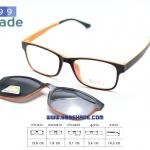 [SOFT 8053 ดำส้ม-คลิปออนดำ] กรอบแว่นคลิปออนแม่เเหล็ก
