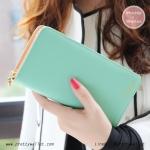 กระเป๋าสตางค์ ใบยาว สีเขียวมิ้นท์ รุ่น Beauty KQueenStar