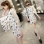 Sevy Spring Korean Printed Round Neck Org Sleeve Mini Dress thumbnail 1