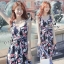Sevy Printed Flora Hollow Shoulder Straps Sleeveless Mini Dress thumbnail 1