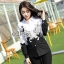Sevy Butterfly See-Through Long Sleeve Black & White Shirt thumbnail 3