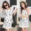 Sevy Spring Korean Printed Round Neck Org Sleeve Mini Dress thumbnail 3
