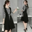 &#x1F380 Lady Ribbon's Made &#x1F380 Lady Grace knit Chic Striped Overall Black Dress thumbnail 4