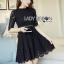 &#x1F380 Lady Ribbon's Made &#x1F380 Lady Christina Classic Feminine Pleated Black Dress thumbnail 3