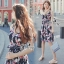 Sevy Printed Flora Hollow Shoulder Straps Sleeveless Mini Dress thumbnail 6