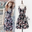Sevy Printed Flora Hollow Shoulder Straps Sleeveless Mini Dress thumbnail 2