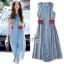 Sevy Soft Denim Blue Red Lace Waist Midi Dress thumbnail 1
