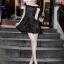 Cliona Made'Black Lace Sexy Shoulder Off Mini Dress - Mini Dress thumbnail 2