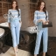Sevy Two Pieces Of Pastel Blue Strips Blouse With Pants Sets (Belt) thumbnail 4