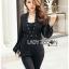 &#x1F380 Lady Ribbon's Made &#x1F380 Lady Helena Elegant Chic Studded Crepe Black Jumpsuit thumbnail 2
