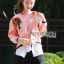 &#x1F380 Lady Ribbon's Made &#x1F380 Lady Esthelle Sporty Feminine Red Roses Embroidered Pink Bomber Jacket thumbnail 5