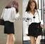 &#x1F380 Lady Ribbon's Made &#x1F380 Lady Grace Minimal Chic Monochrome White Shirt and Black Shorts Set thumbnail 3