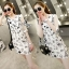 Sevy Spring Korean Printed Round Neck Org Sleeve Mini Dress thumbnail 2