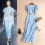 Sevy Flora Blue Lace Short Sleeve Blouse With Long Skirt Suit Sets thumbnail 4