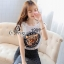 Sevy Tiger Head Printed Striped Skirt Ribbon Shoulder Midi Dress thumbnail 6