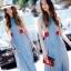Sevy Soft Denim Blue Red Lace Waist Midi Dress thumbnail 3