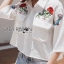 &#x1F380 Lady Ribbon's Made &#x1F380 Lady Jennifer Red Roses Embroidered Wide-Sleeve Polyester Shirt thumbnail 5
