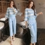 Sevy Two Pieces Of Pastel Blue Strips Blouse With Pants Sets (Belt) thumbnail 1