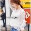 🎀 Lady Ribbon's Made 🎀Lady Bella Ruffle-Sleeve White Scallop Lace Blouse เสื้อผ้าลูกไม้ลาย thumbnail 2