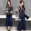 Sevy Two Pieces Of Stripes Navy Ribbon Neck Shirt With Pants Sets thumbnail 2