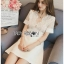 🎀 Lady Ribbon's Made 🎀Lady Elena Classy White Lace and Crepe Mini Dress thumbnail 3