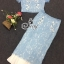 Sevy Flora Blue Lace Short Sleeve Blouse With Long Skirt Suit Sets thumbnail 5