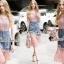 Seoul Secret Say's... Pinky Pleat Net Frienge Denim Skirt Lace Tops Set thumbnail 2
