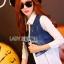 &#x1F380 Lady Ribbon's Made &#x1F380 Lady Gilda Sporty Chic White Poplin Cotton Shirt and Denim thumbnail 2