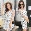 Sevy Spring Korean Printed Round Neck Org Sleeve Mini Dress thumbnail 4