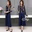 Sevy Two Pieces Of Stripes Navy Ribbon Neck Shirt With Pants Sets thumbnail 3