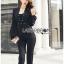 &#x1F380 Lady Ribbon's Made &#x1F380 Lady Helena Elegant Chic Studded Crepe Black Jumpsuit thumbnail 3