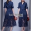 &#x1F380 Lady Ribbon's Made &#x1F380 Lady Elsa Dark Navy Blue jean and Lace Shirt Dress thumbnail 4