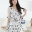 Sevy Spring Korean Printed Round Neck Org Sleeve Mini Dress thumbnail 5