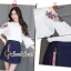 Seoul Secret Say's... Rosy Flora Furnish Open Shoulder Denim Skirt Set thumbnail 3