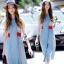 Sevy Soft Denim Blue Red Lace Waist Midi Dress thumbnail 2