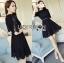 &#x1F380 Lady Ribbon's Made &#x1F380 Lady Christina Classic Feminine Pleated Black Dress thumbnail 4