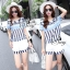 Sevy Turquoise Retro Strips Blouse With Shorts Sets thumbnail 5