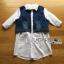&#x1F380 Lady Ribbon's Made &#x1F380 Lady Gilda Sporty Chic White Poplin Cotton Shirt and Denim thumbnail 5
