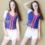 Sevy Sport Girl Knit V-Nack Zipper Front T-Shirt thumbnail 4