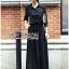&#x1F380 Lady Ribbon's Made &#x1F380 Lady Elise Minimal Black Cotton Maxi Shirt Dress thumbnail 1