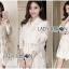 &#x1F380 Lady Ribbon's Made &#x1F380 Lady Leslie Classic Twist Studded White Lace Shirt Dress thumbnail 3
